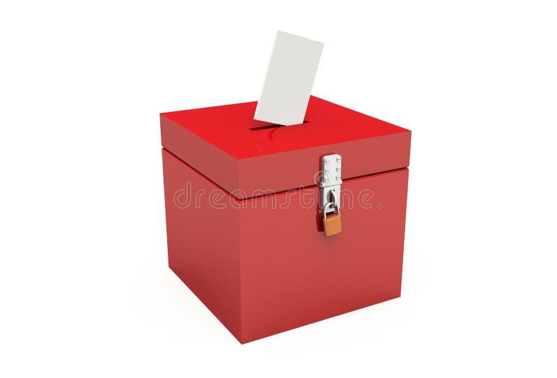 02 3d tajnego głosowania pudełka czerwień ilustracja wektor