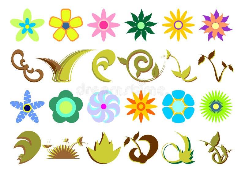 02 blom- sets stock illustrationer