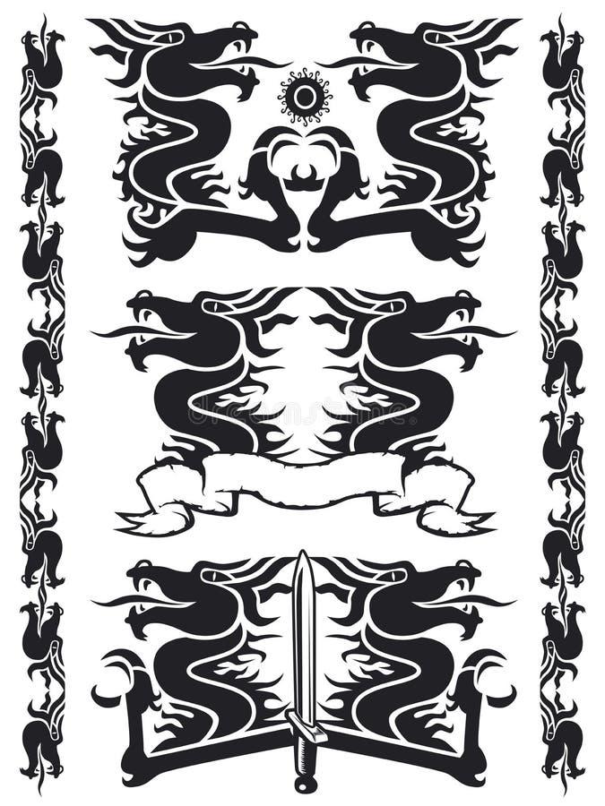 02 czarnego smoka zestaw royalty ilustracja