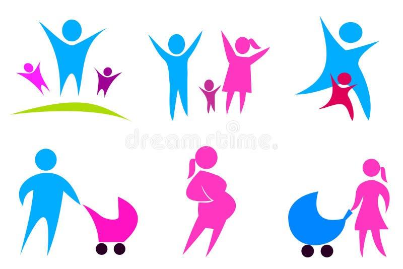02 inställda begreppsfamiljsymboler vektor illustrationer