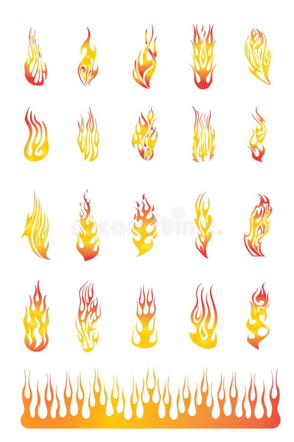 02 inställda flammor royaltyfri illustrationer