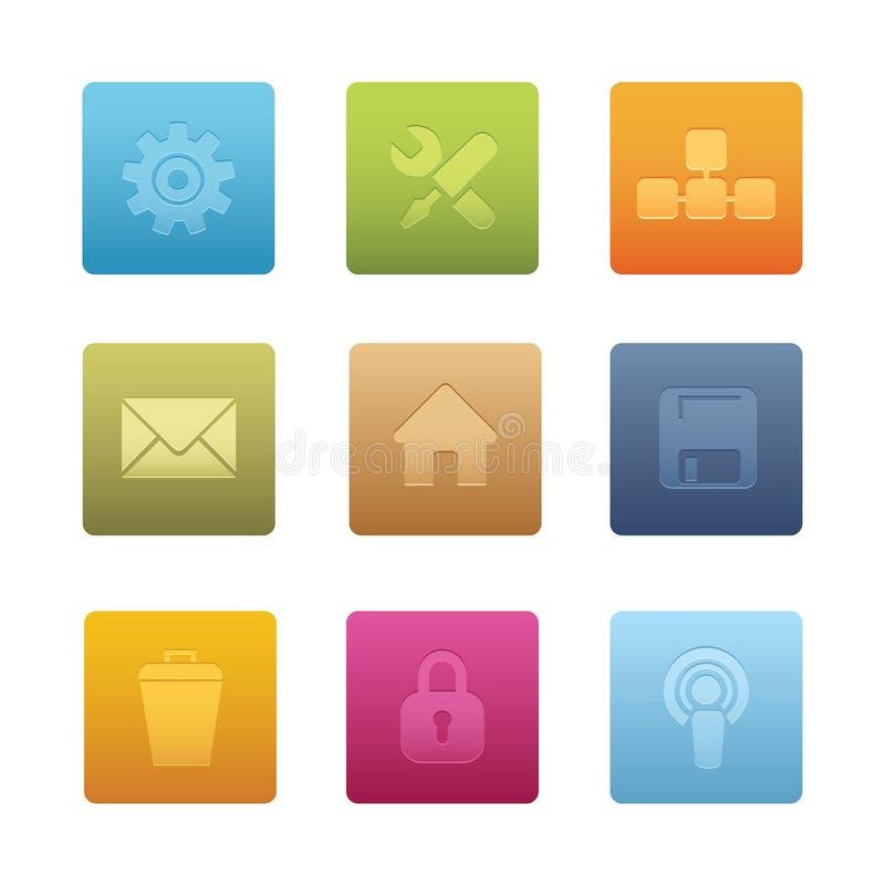 02 komputerowy ikon kwadrat royalty ilustracja