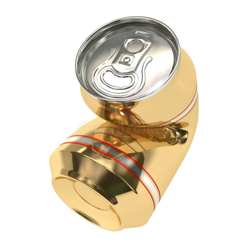02 piwna puszka miażdżył ilustracja wektor