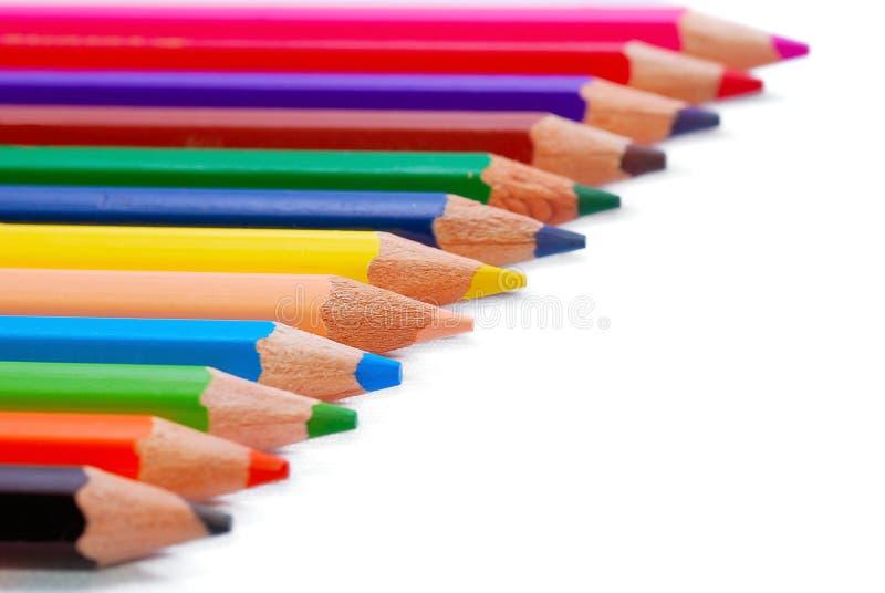 02 séries multicolores de dessin de crayon photographie stock