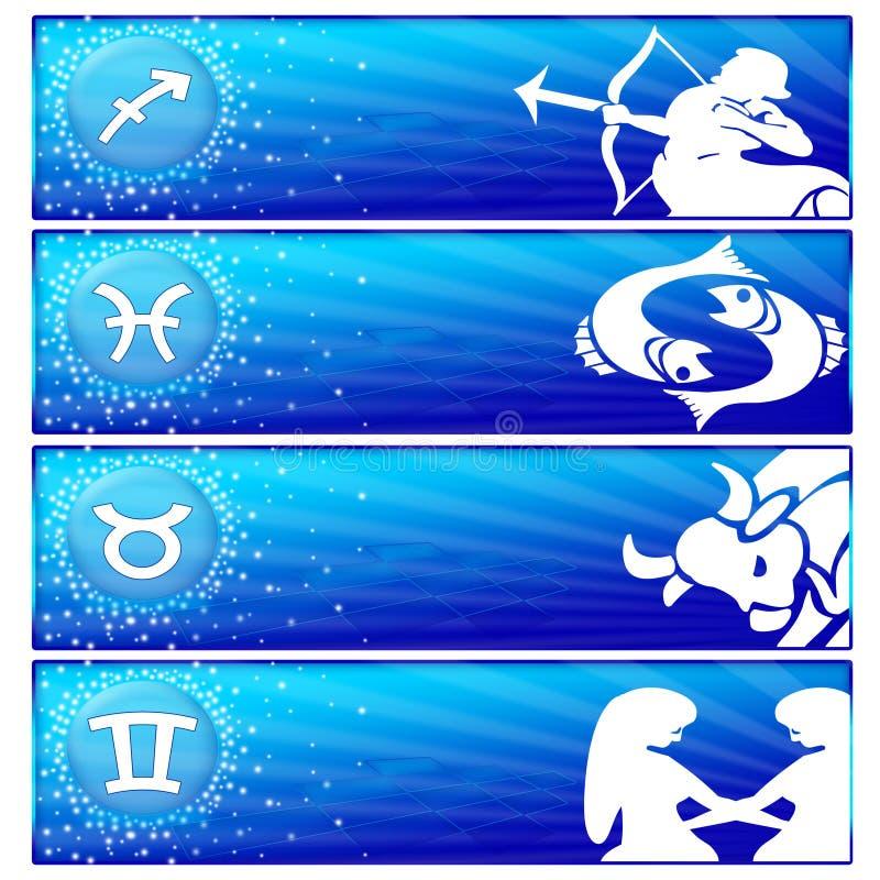 02 sztandarów ustalony zodiak ilustracja wektor
