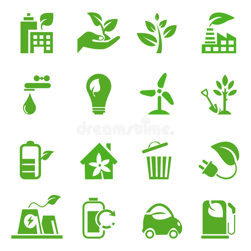 02 zielone idą ustawiać ikony royalty ilustracja