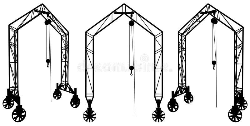 03举起向量的建筑用起重机 皇族释放例证