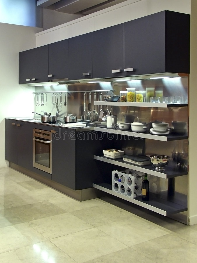 03现代结构的厨房 免版税图库摄影