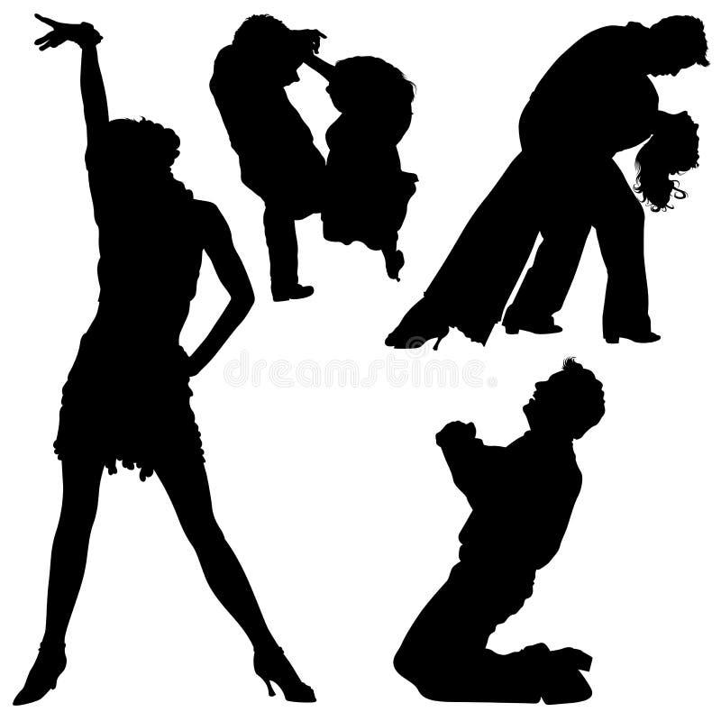 03 σκιαγραφίες χορού διανυσματική απεικόνιση