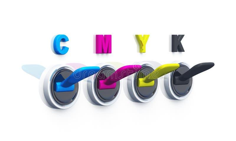03 переключателя cmyk 3d иллюстрация вектора