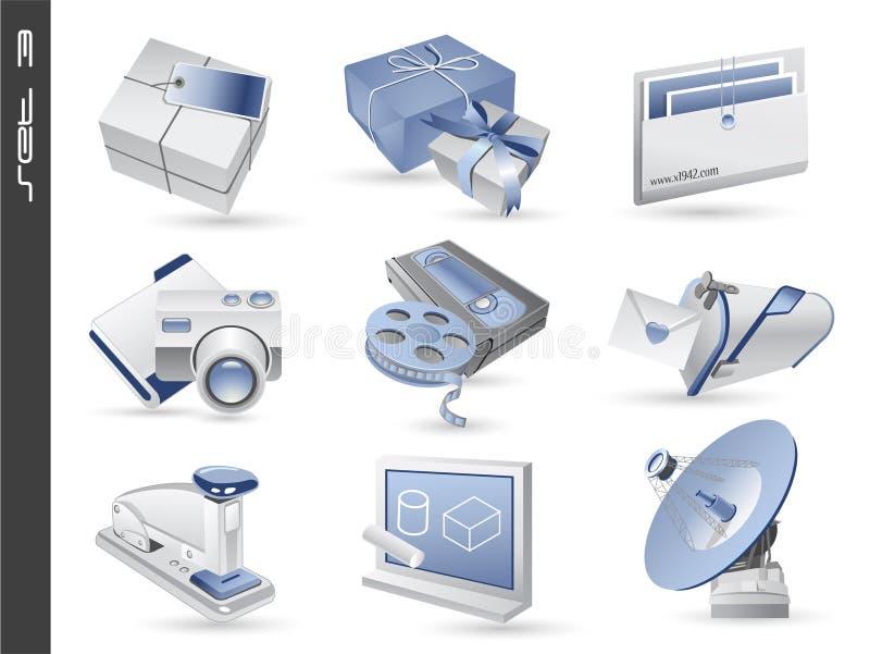 03 inställda symboler 3d royaltyfri illustrationer