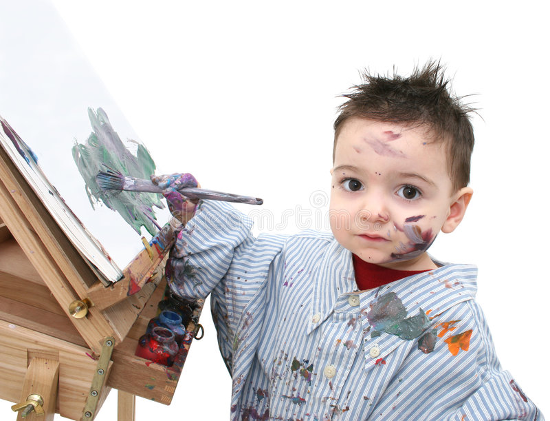 04个男孩儿童绘画 免版税库存照片