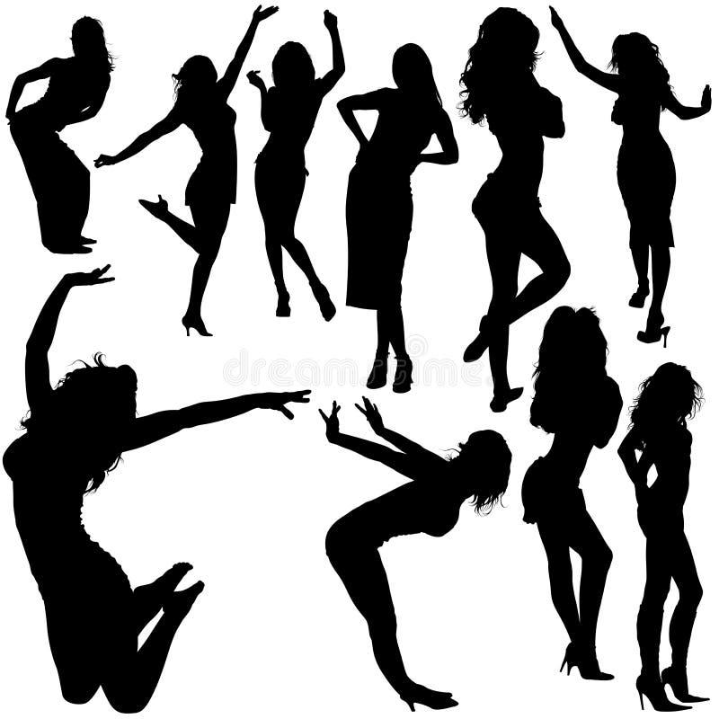 04 dansa flickor vektor illustrationer