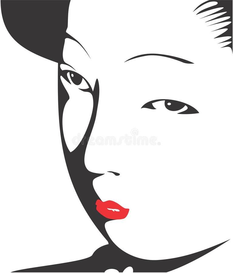 04 gejsza twarzy royalty ilustracja