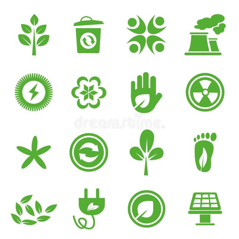 04 zielone idą ustawiać ikony royalty ilustracja