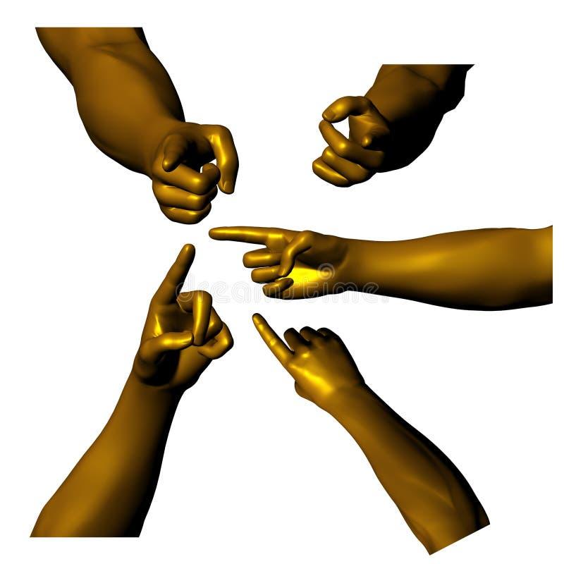 05 золотистых рук иллюстрация вектора