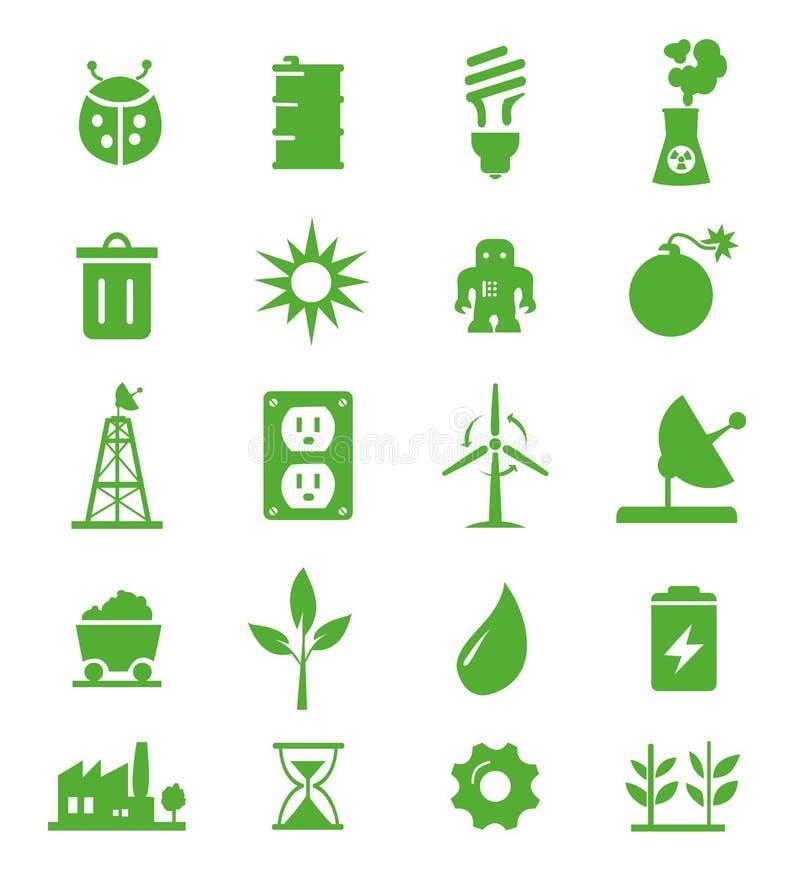 05 zielone idą ustawiać ikony royalty ilustracja