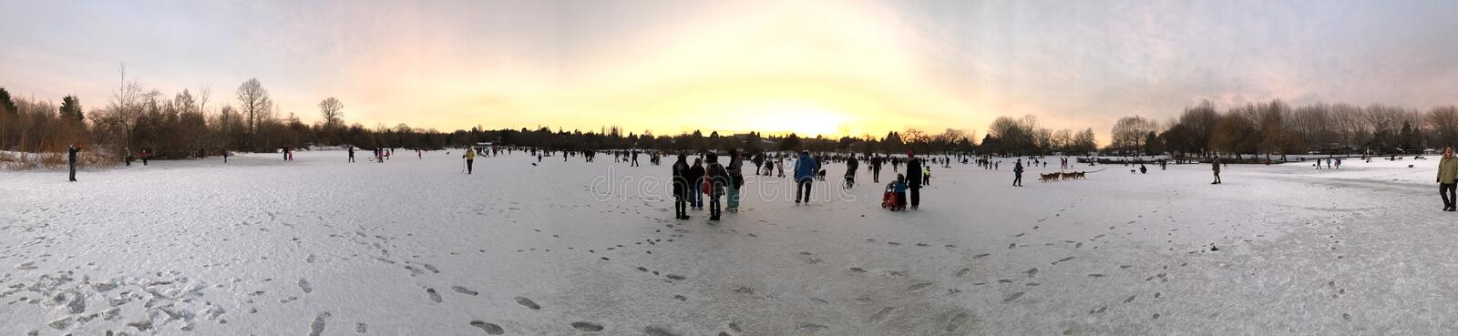 05january2017 Trout Lake Skating Party :-) Panorama #fun #lucky #snowmaggedon Free Public Domain Cc0 Image
