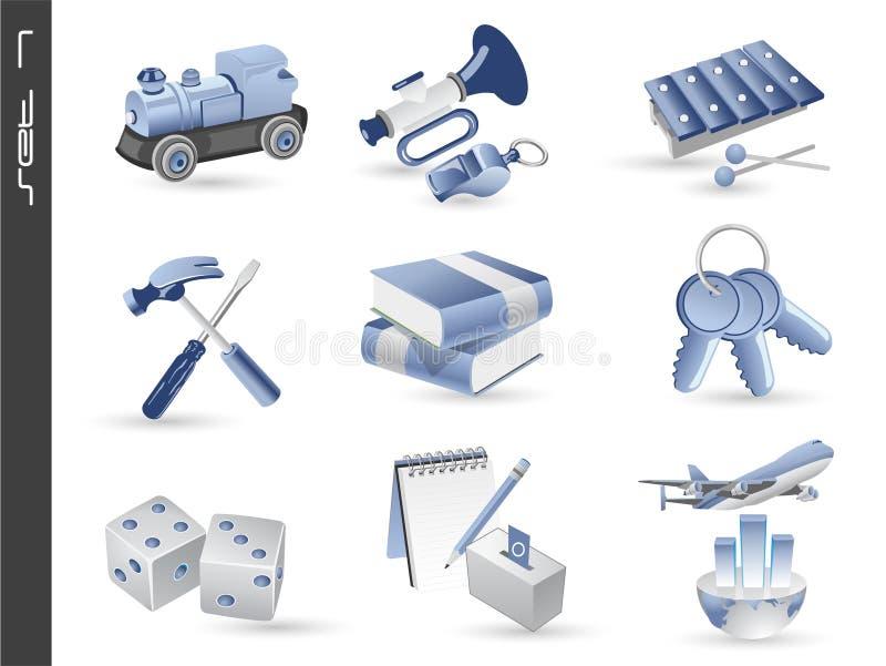07 установленных икон 3d иллюстрация штока