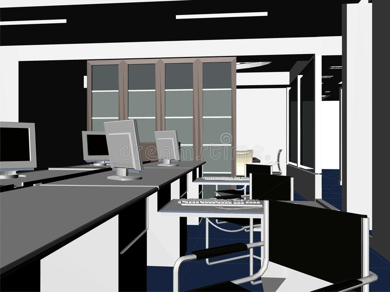 09个内部办公室房间向量 库存例证