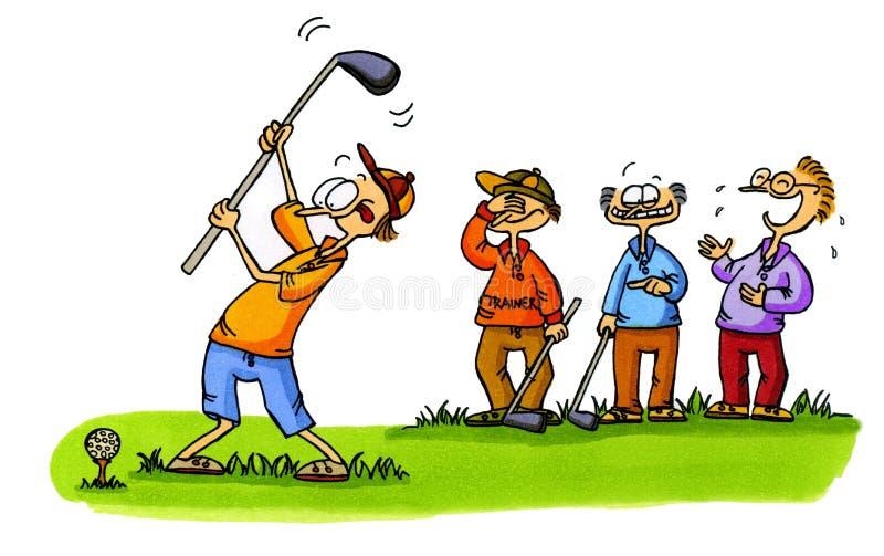 1个初学者动画片打高尔夫球编号系列 向量例证