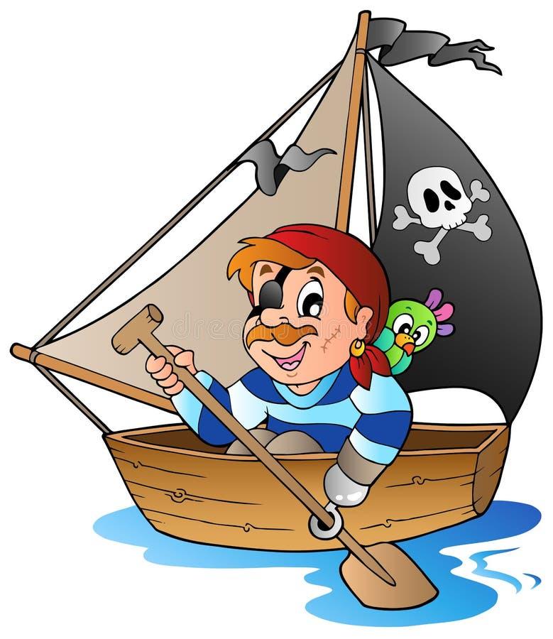 1个动画片海盗年轻人 向量例证