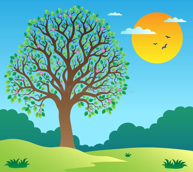 1个叶茂盛风景结构树 皇族释放例证
