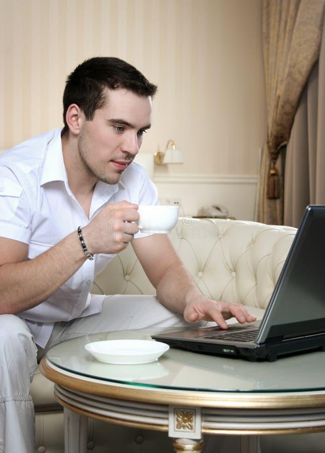 1个咖啡工作 免版税库存图片
