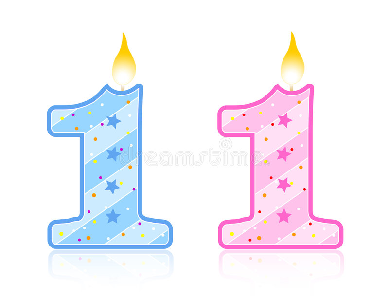 1个生日蜡烛 向量例证