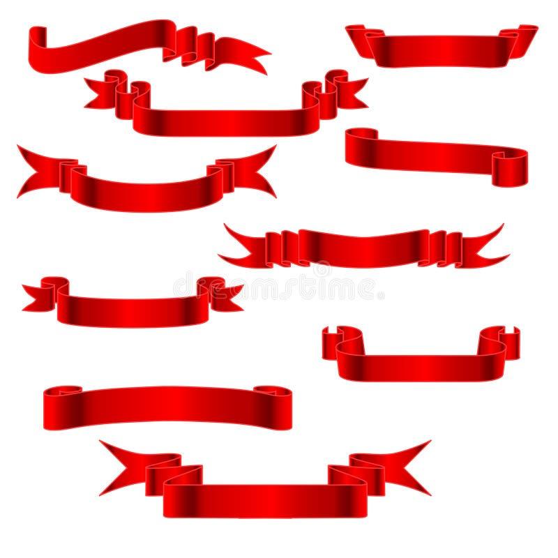 1个红色丝带v 库存例证