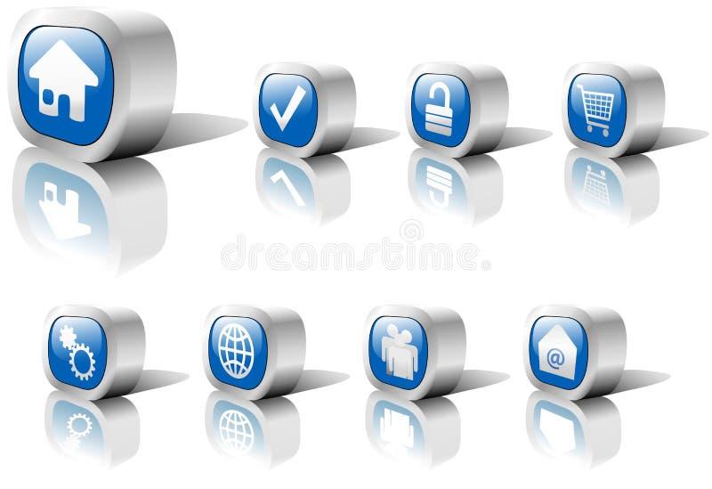 1个蓝色按钮金属集合万维网 皇族释放例证