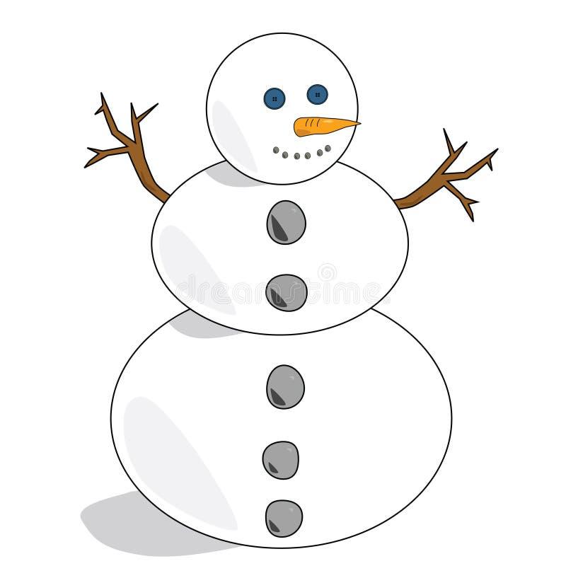 1个雪人 向量例证