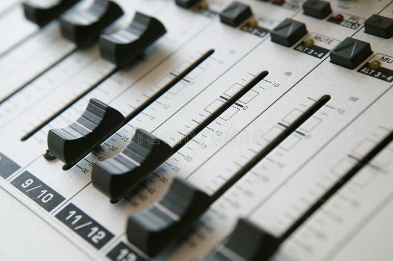 1个音频混合的面板 库存图片