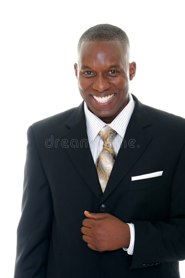 1个黑色商人诉讼 免版税库存图片