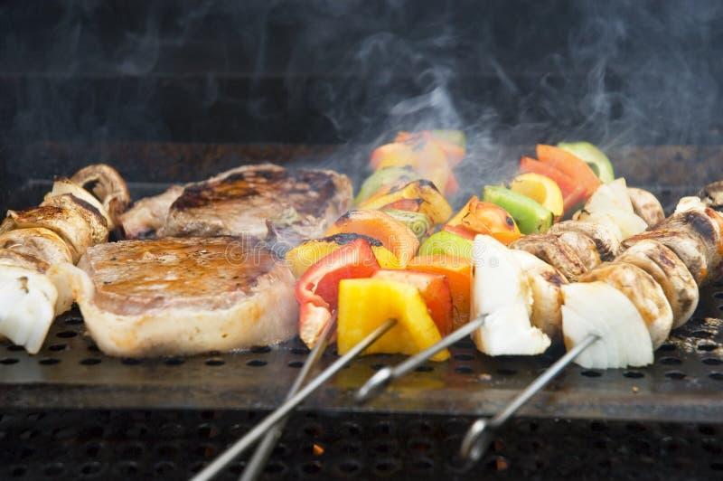 1串烤肉饭食 库存照片