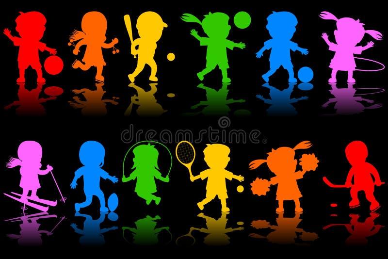1五颜六色的孩子剪影 库存例证