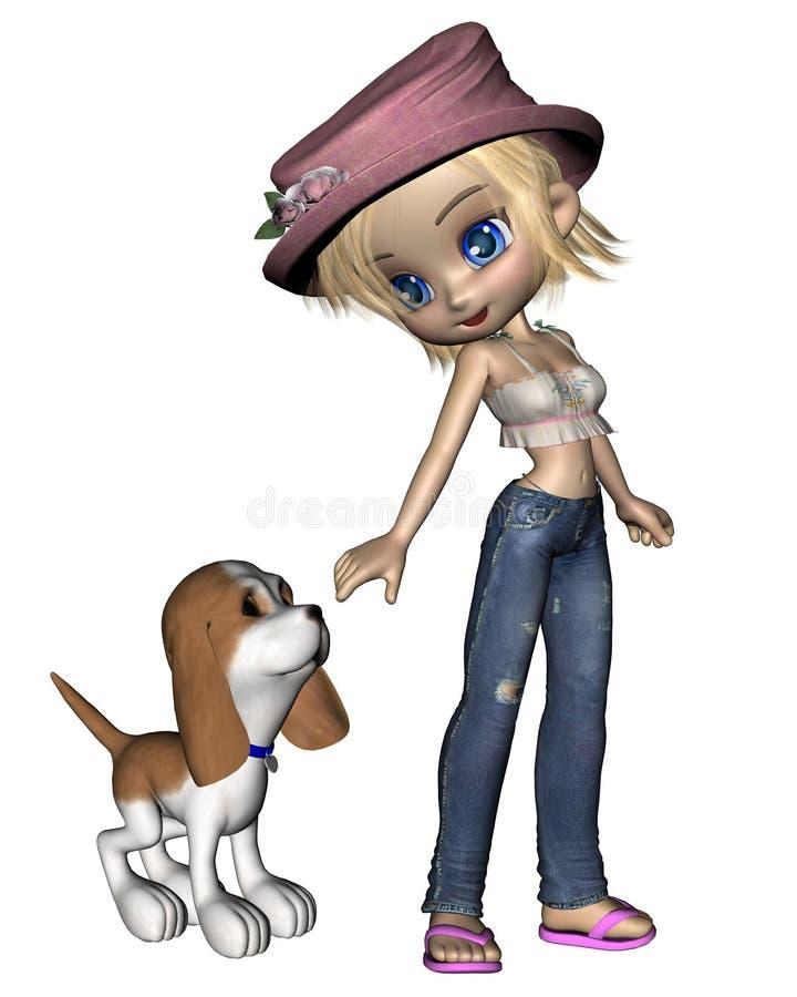 1只逗人喜爱的女孩小狗印度桃花心木 库存例证