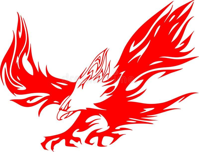 1只atacking的老鹰火焰 皇族释放例证