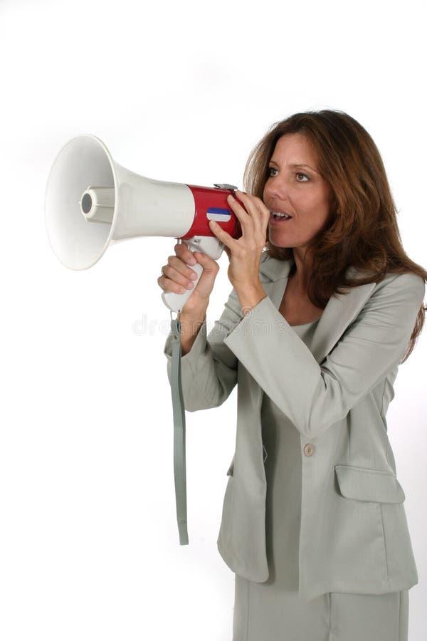 1名可爱的企业扩音机妇女 库存照片