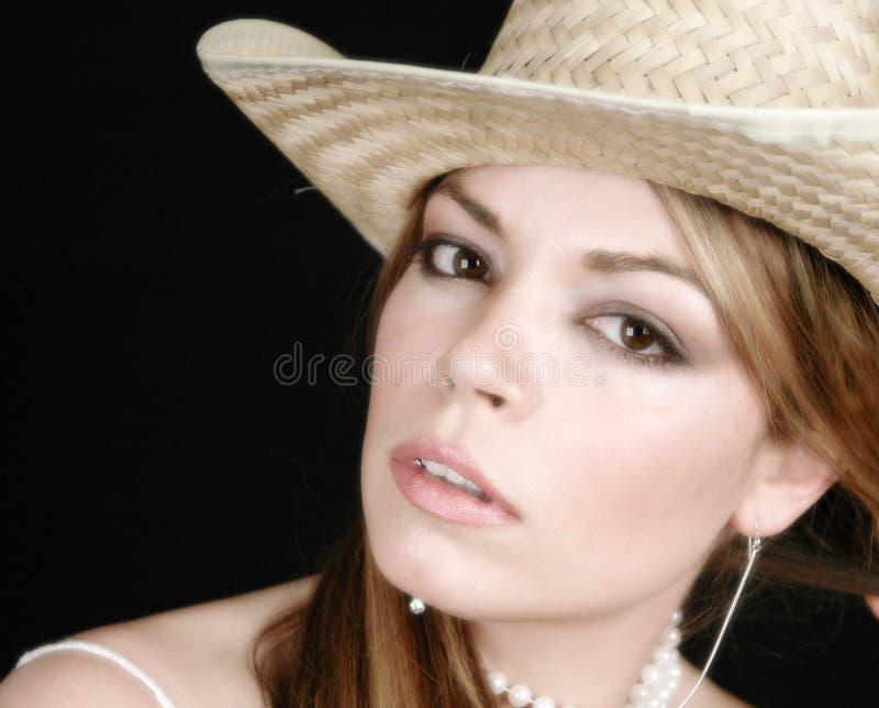 1名白色服装妇女 免版税库存照片