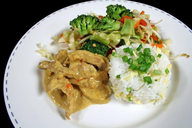 1咖喱猪肉米 免版税库存照片