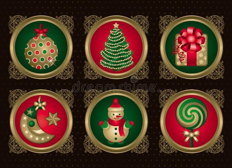 1圣诞节要素金集 皇族释放例证