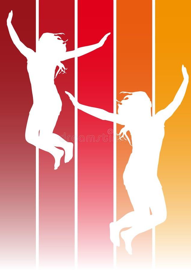 1女孩跳 向量例证