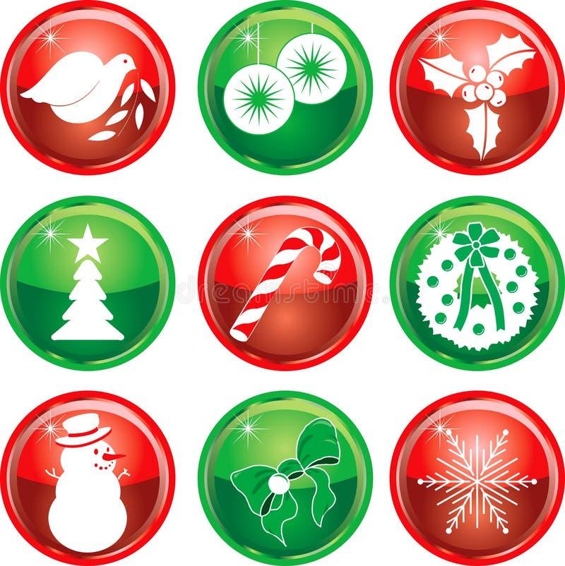 1按钮圣诞节图标九 向量例证