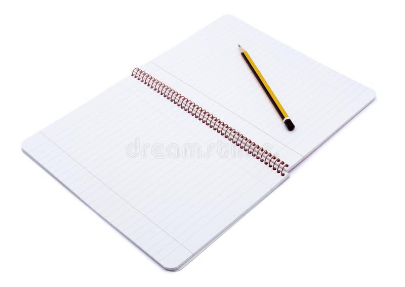 1支笔记本开放铅笔 免版税库存照片