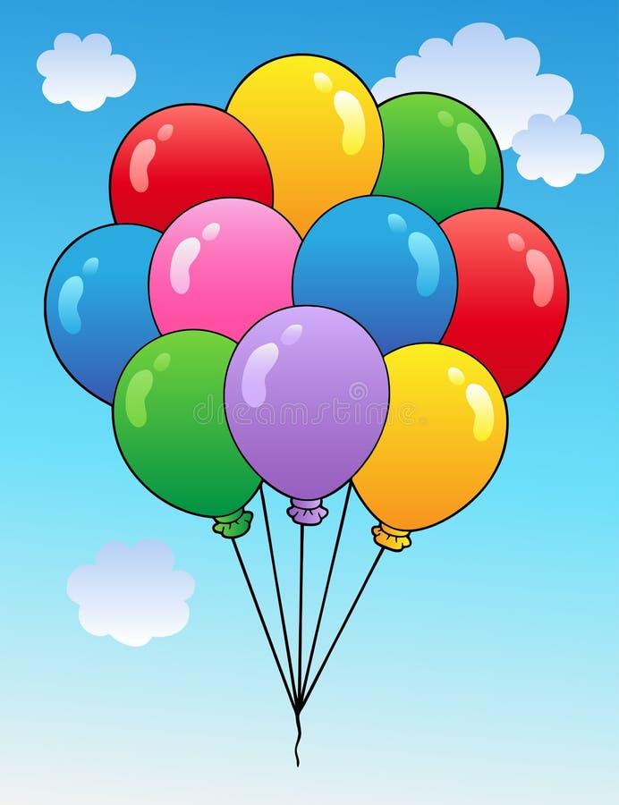 1气球蓝色动画片天空 向量例证