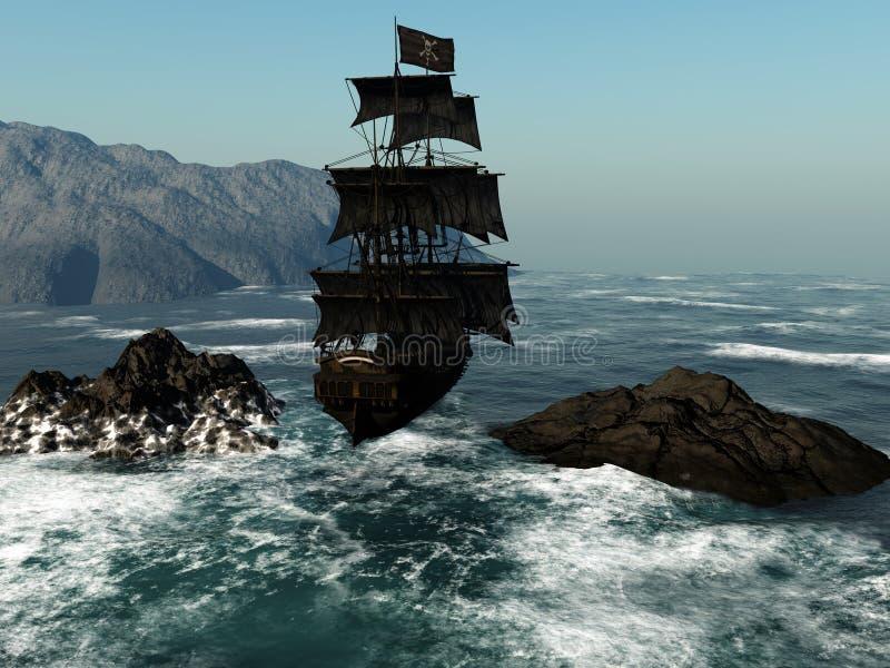 1艘海盗船 向量例证