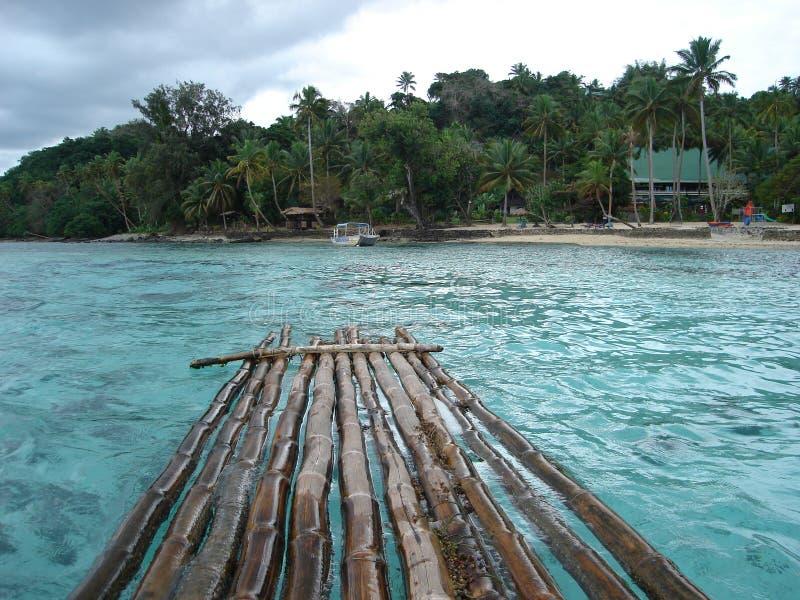 1艘竹斐济木筏 免版税库存照片