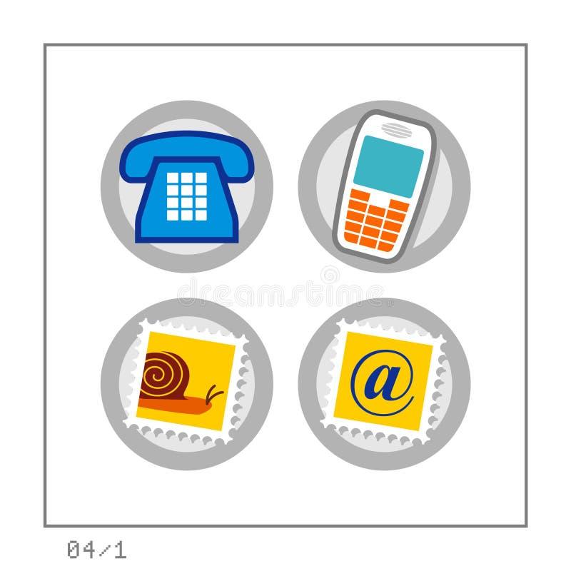 1 łączności 04 ikony postawił wersja ilustracja wektor