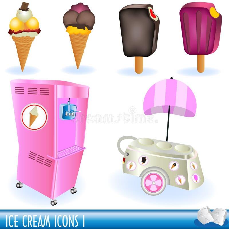 (1) śmietanki lodowe ikony ilustracji